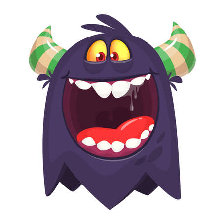 Angry cartoon black monster screaming. Yelling angry monster expression. Halloween vector illustration