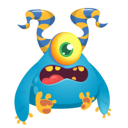Angry cartoon monster with horns and one eye. Smiling monster emotion with big mouth. Halloween vector illustration Illustration