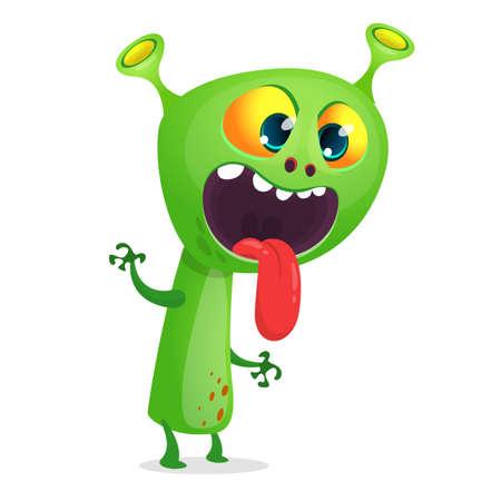 Funny cartoon monster face expression. Vector monster avatar