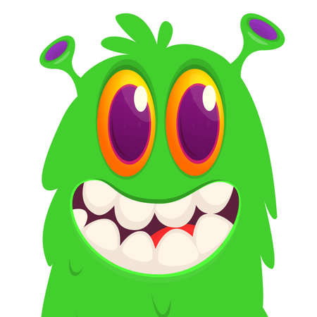 Funny cartoon monster face expression. Vector monster avatar