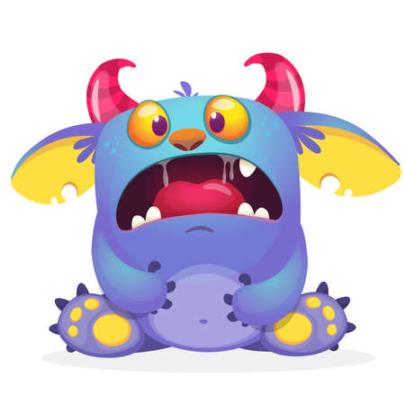 Scary cartoon monster creature. Vector illustration of angry monster.