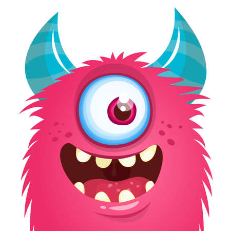 Funny cartoon monster creature. Vector Halloween illustration.
