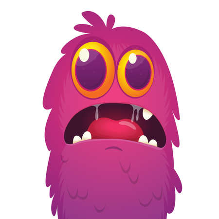 Scary cartoon monster face expression. Vector monster avatar
