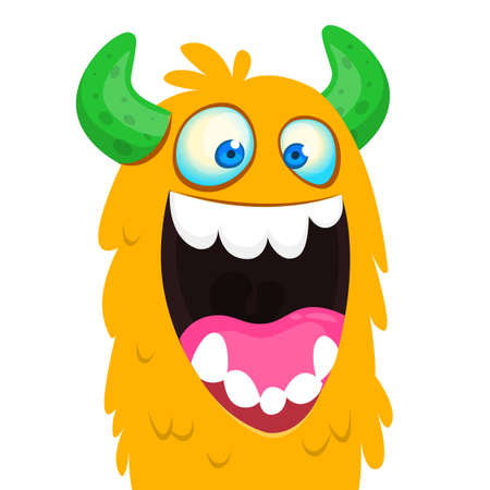 Funny cartoon monster creature with one big eye. Vector Halloween illustration.