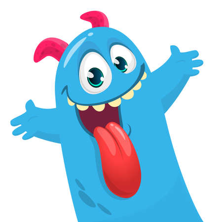 Funny cartoon monster creature waving hands. Vector Halloween illustration.