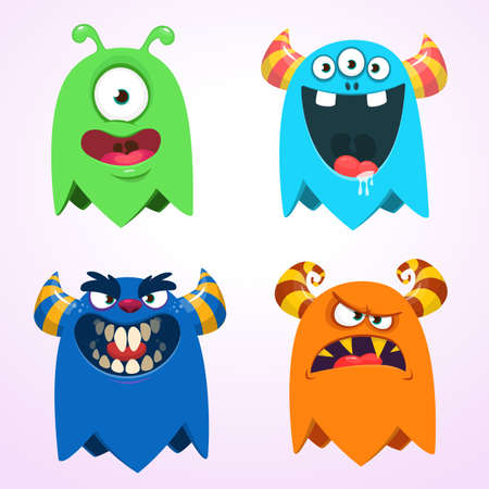 Cartoon monsters set. Halloween vector illustration 向量圖像