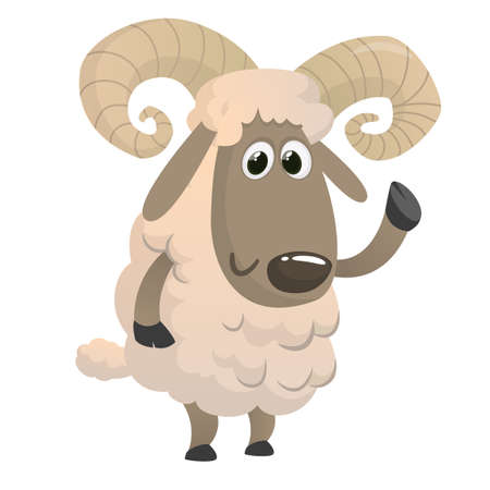 Funny cartoon sheep. Vector illustration of a fluffy lamb animal