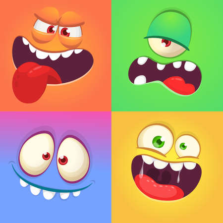 Cartoon monster faces set. Vector collection of four Halloween monster avatars with different face expressions