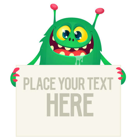 Catoon alien holding blank sign with sample text. Vector illustration