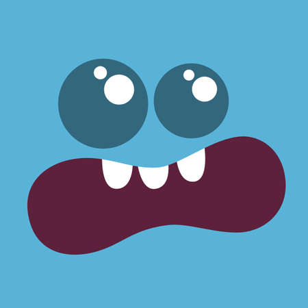 Funny cartoon monster face. Vector Halloween monster square avatar