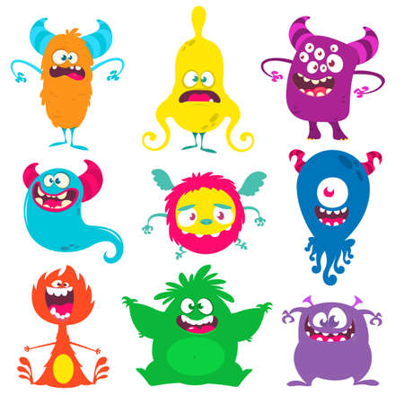 Funny cartoon creatures. Set of cartoon vector monsters. Halloween design