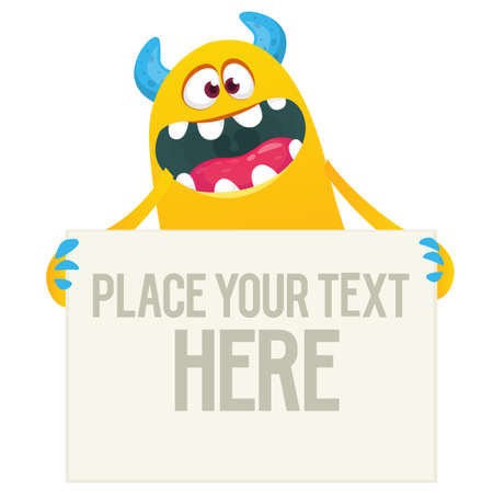 Catoon happy monster holding blank paper with sample text. Vector illustration 向量圖像