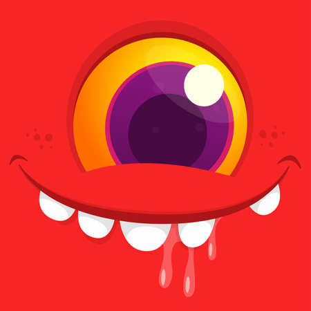 Funny cartoon monster face with one eye. Vector Halloween monster square avatar