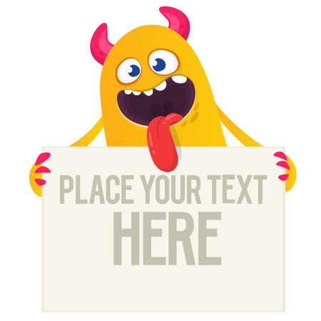 Catoon monster holding blank sign with sample message on it. Vector illustration