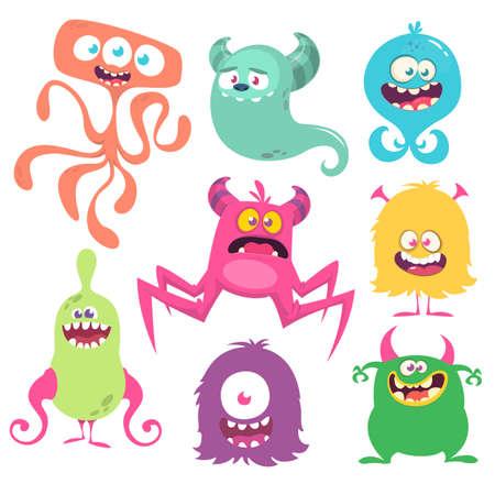 Funny cartoon creatures. Set of cartoon vector monsters. Halloween design