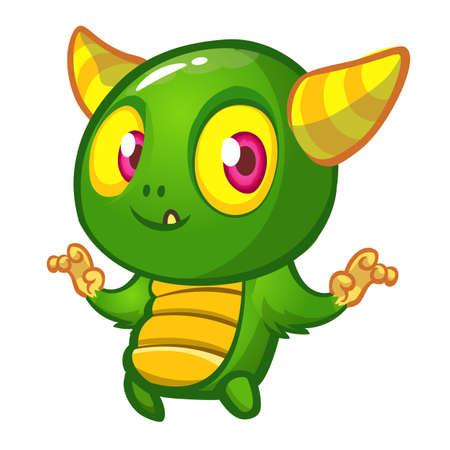 Funny cartoon green monster. Vector illustration of cute monster creature