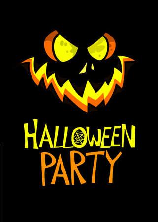 Halloween pumpkin with scary face. Vector illustration of pumpkin head. Jack-o-lantern