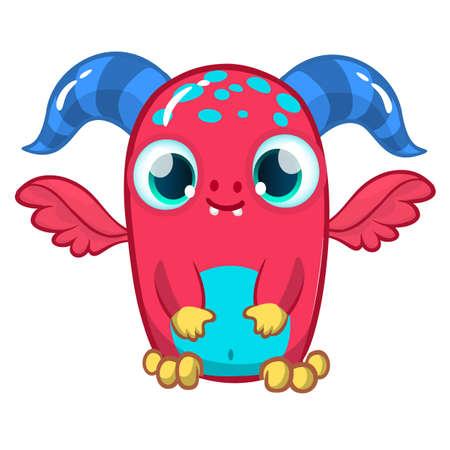 Funny cartoon monster. Vector illustration of cute monster creature