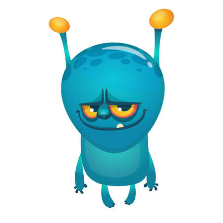 Cartoon funny blue alien creature with two antennas