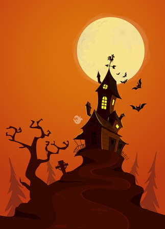 Happy halloween greeting card with haunted house, grim reaper and scary bats. Holidays party poster. 向量圖像