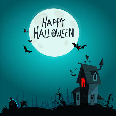 Scary Old Halloween horrible House. Cartoon background with haunted house. vector isolated Vektorgrafik