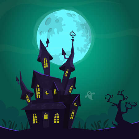 Halloween background with tombs, trees, bats, tombstones, grave and haunted house. Cartoon vector illustration isolated Ilustração Vetorial