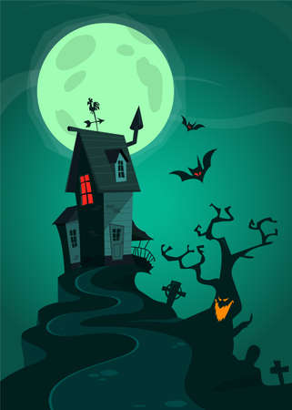 Halloween background with tombs, trees, bats, tombstones, grave and haunted house. Cartoon vector illustration isolated Vektorgrafik
