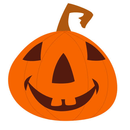 Cartoon funny halloween pumpkin head isolated. Vector illustration