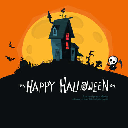 Cartoon haunted old house with the moon in background. Vector illustration isolated