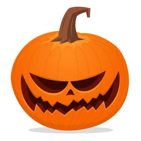 Halloween scarecrow with pumpkin head illustration. Vector cartoon carved jack-o-lantern isolated Vector Illustratie