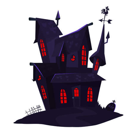 Cartoon haunted scary house. Vector illustration isolated on white background