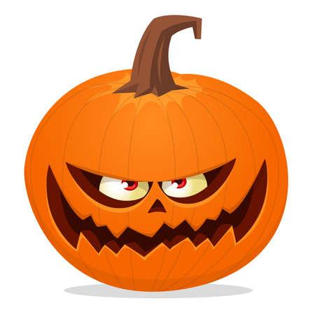 Cartoon funny halloween pumpkin head isolated. Vector illustration Ilustración de vector