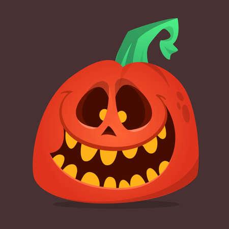 Halloween scarecrow with pumpkin head illustration. Vector cartoon carved jack-o-lantern isolated