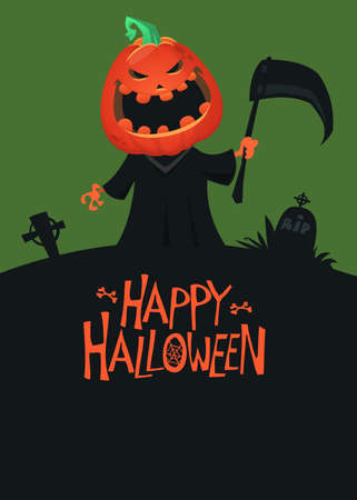 Halloween scary grim reaper with pumpkin head illustration. Vector cartoon carved jack-o-lantern isolated