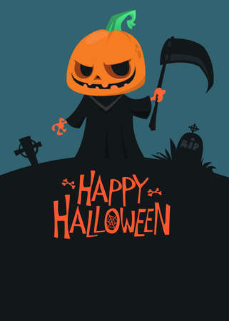 Grim reaper jack-o-lantern cartoon. Vector illustration of a scarecrow holding scythe