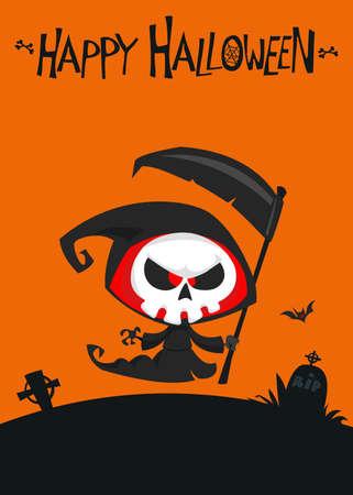 Cute cartoon grim reaper. Cute Halloween skeleton death character illustration Illustration