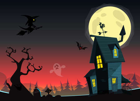 Scary Old Halloween horrible House. Cartoon background with haunted house. vector isolated
