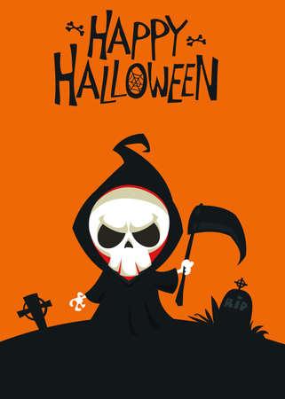 Cartoon grim reaper. Death skeleton illustration. Halloween layout design for poster or invitation