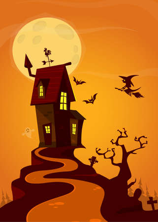 Halloween background with tombs, trees, bats, tombstones, grave and haunted house. Cartoon vector illustration isolated