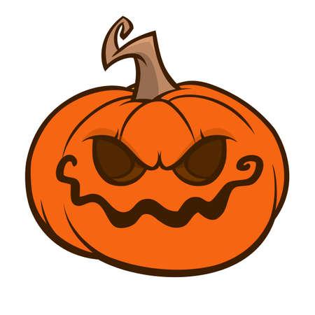 Cartoon halloween pumpkin head with scary expression. Vector illustration of jack-o-lantern character
