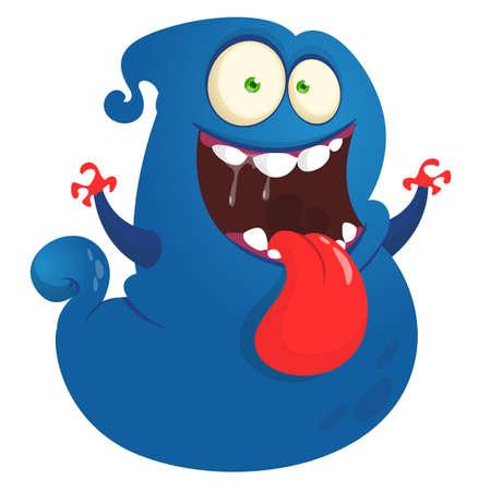 Funny cartoon flying monster design. Monster character illustration Vettoriali