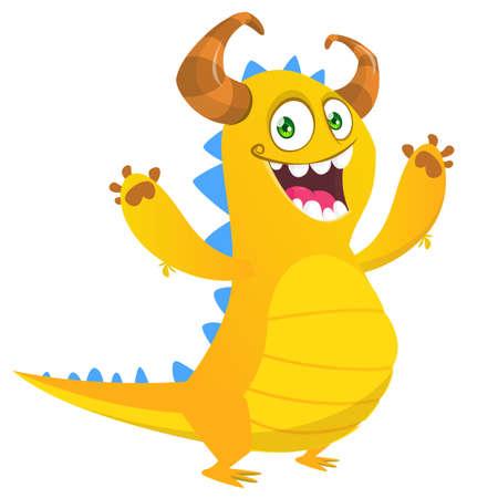 Funny cartoon monster design. Dragon illustration