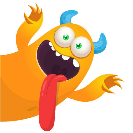 Funny cartoon monster showing tongue. Illustration of cute monster creature. Halloween design