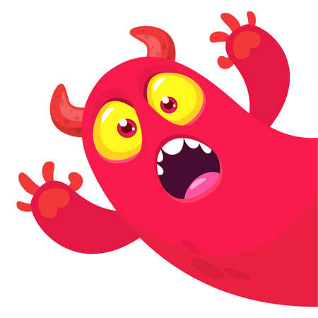 Funny cartoon monster design. Monster character vector illustration