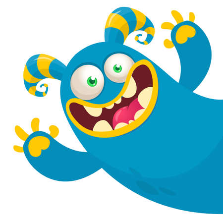 Funny cartoon monster. Illustration of cute monster creature. Halloween design