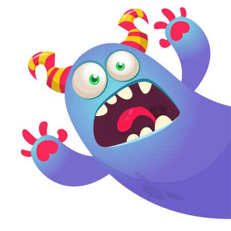 Scary cartoon monster. Illustration of cute monster creature. Halloween vector design Vettoriali