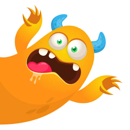 Funny cartoon monster. Illustration of cute monster creature. Halloween vector design Vettoriali