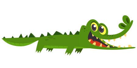 Funny green crocodile cartoon swimming. Vector illustration for children book.