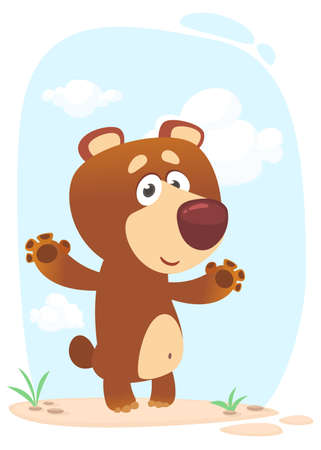 Happy cartoon brown bear illustration. Isolated on white background