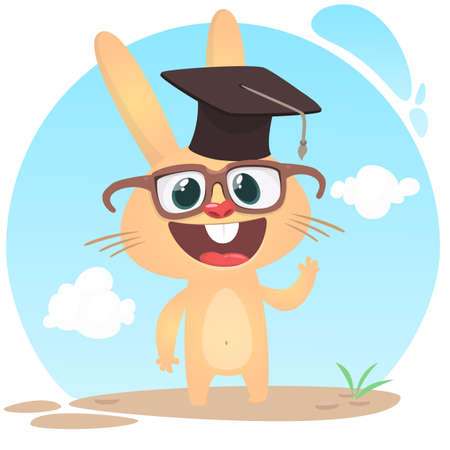 Cute cartoon rabbit wearing graduation bachelor hat and eyeglasses. Vector illustration of a smiling bunny